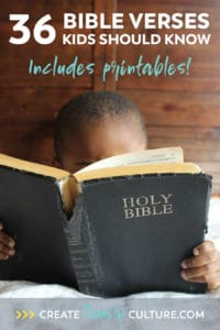 36 Bible verses for kids to learn. Includes free printable list!